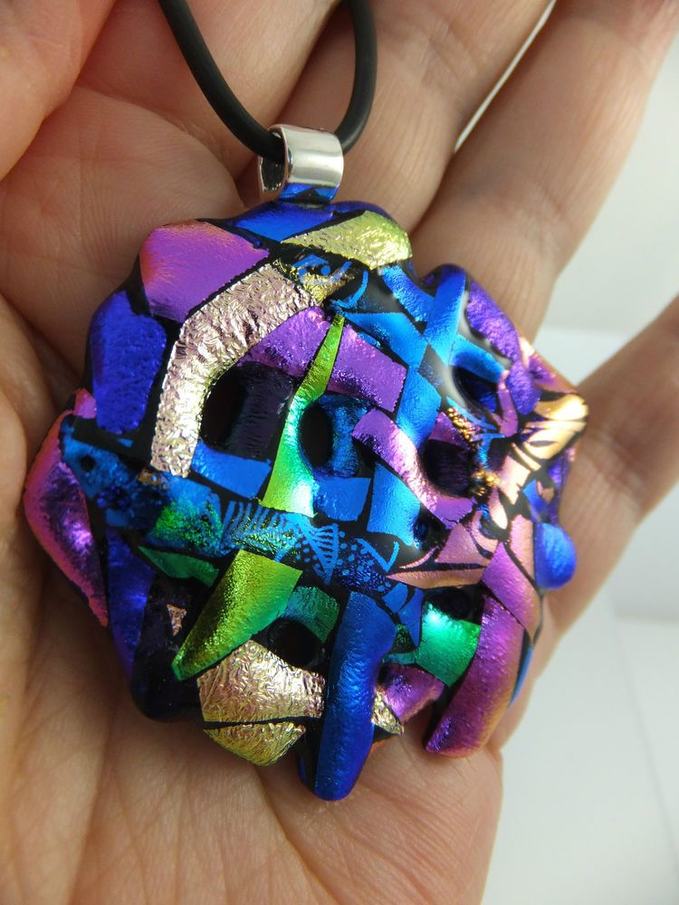 RIBBONS in Purple, Pink, Blue &  Green - Handmade Dichroic Glass Pendant + Cord by Cheryl Smith
