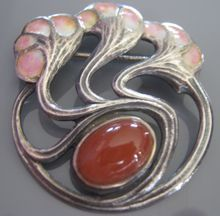 Antique Signed Jugendstil Enamel Sterling Silver Art Nouveau Fahrner V.Mayer Brooch