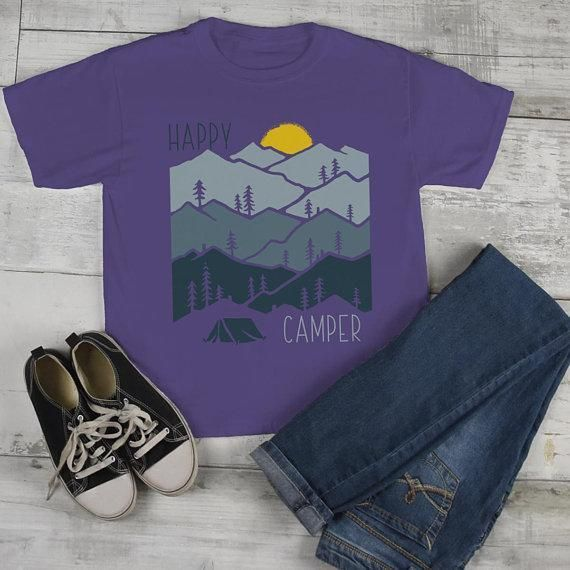 Kids Happy Camper T Shirt Sunset Shirts Camping Tee Nature Tshirt Wanderlust Clothing – Products