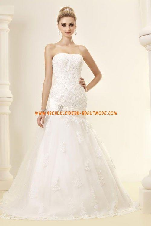 Glamouröse trägerlose tiefe Taille A-linie Hochzeitskleider aus ...