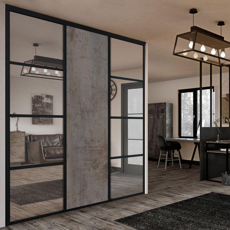 Grunge 5 Facade De Placard Coulissante 3 Portes Miroir Argent Decor Beton Cuivre Placard Coulissant Porte Miroir Decoration Chambre Fille