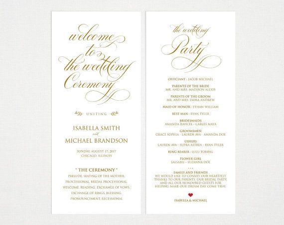 Gold Wedding Program Template Wedding Ceremony Program Wedding