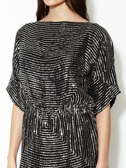 Silk Sequin Dolman Dress by Reem Acra