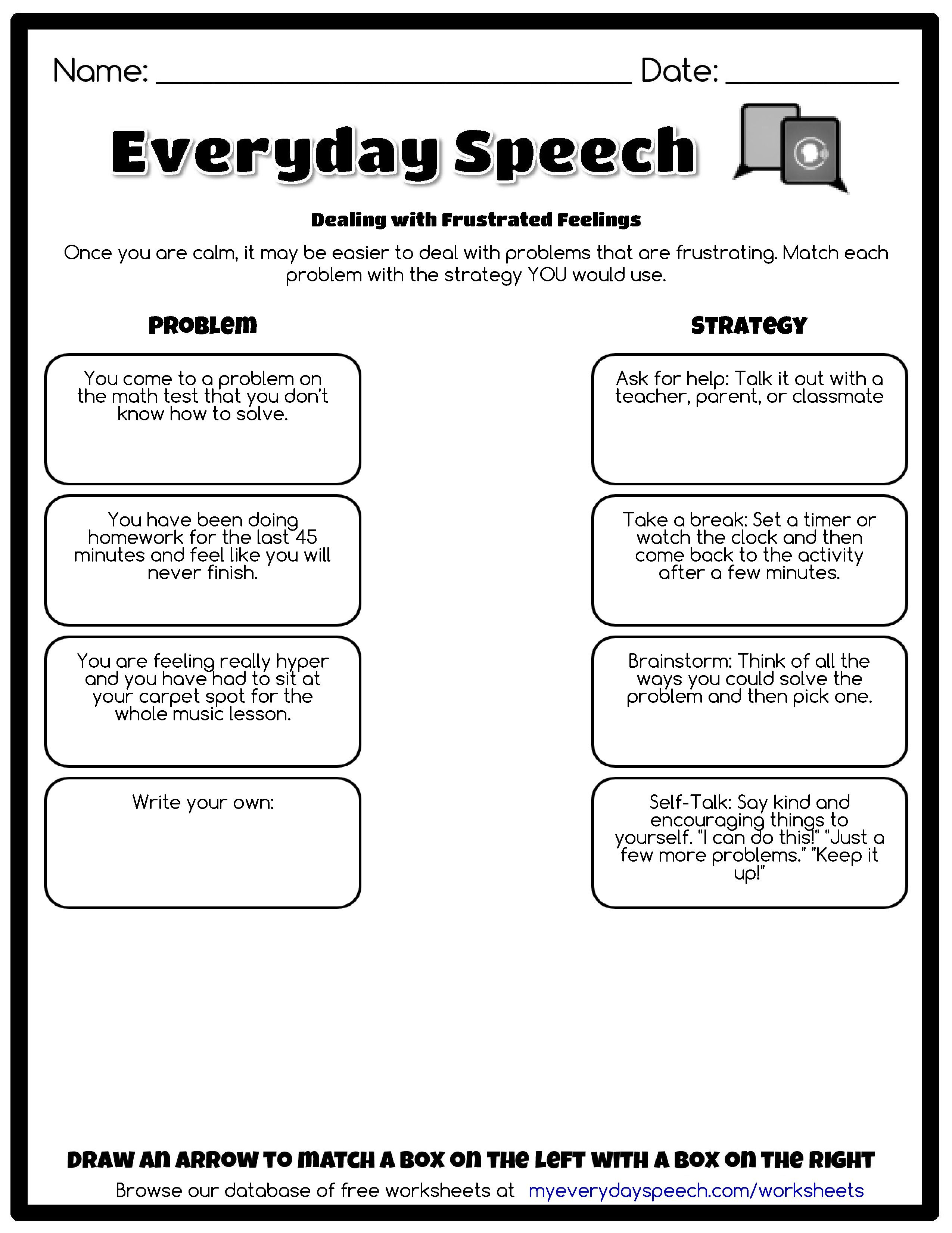 Worksheets Social Skills Problem Solving Worksheets check out the worksheet i just made using everyday speechs creator dealing with frustrated