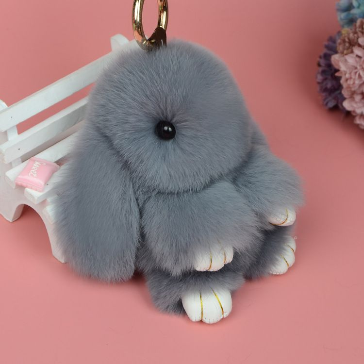 Carino Mini Genuine Rabbit Fur Pom Pom Donne Catena Chiave Gingillo coniglio Borsa Bambola Peluche Mostro Anello Chiave Dell'automobile Keychain Dei Monili del Regalo