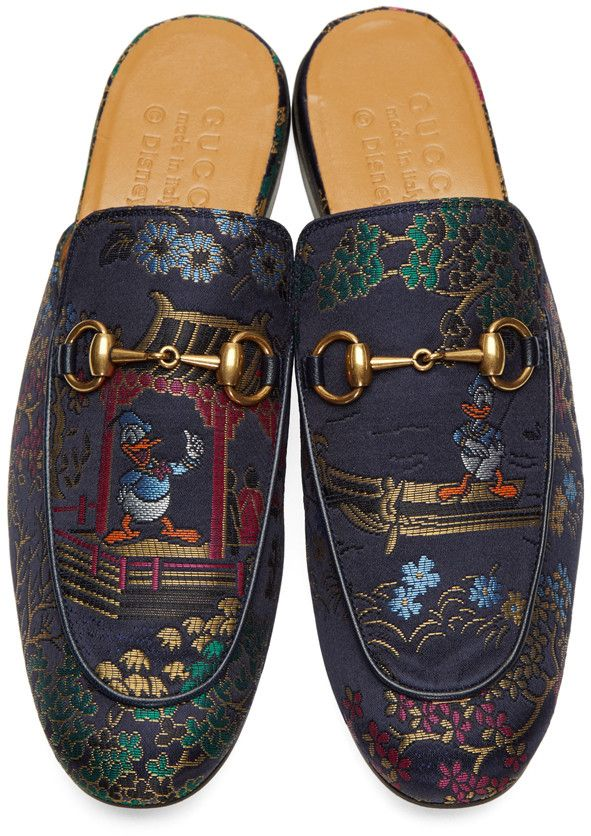 Gucci - Navy Donald Duck Princetown Slip-On Loafers   Souliers chic ... 92d548fb9df