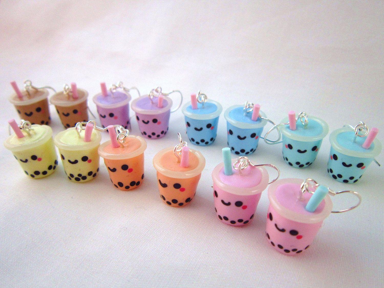 Chatime herbal tea - Bubble Tea Boba Drink Kawaii Polymer Clay Earrings By Doodiebear 12 00
