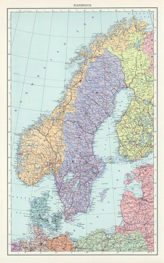 Vintage Sweden, Norway and Denmark map digital-Scandinavia Map ...