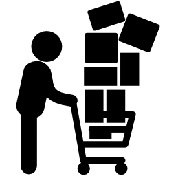 Man With Stacked Boxes On Shopping Cart Free Vector Icons Designed By Freepik Online Shop Design Shop Signs Vector Icon Design