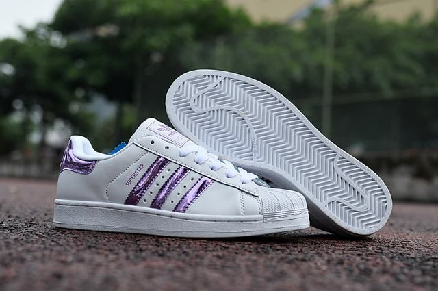 0710c0a8cd2 Ladies Adidas Superstar 3d White Stripe Purple Sneakers
