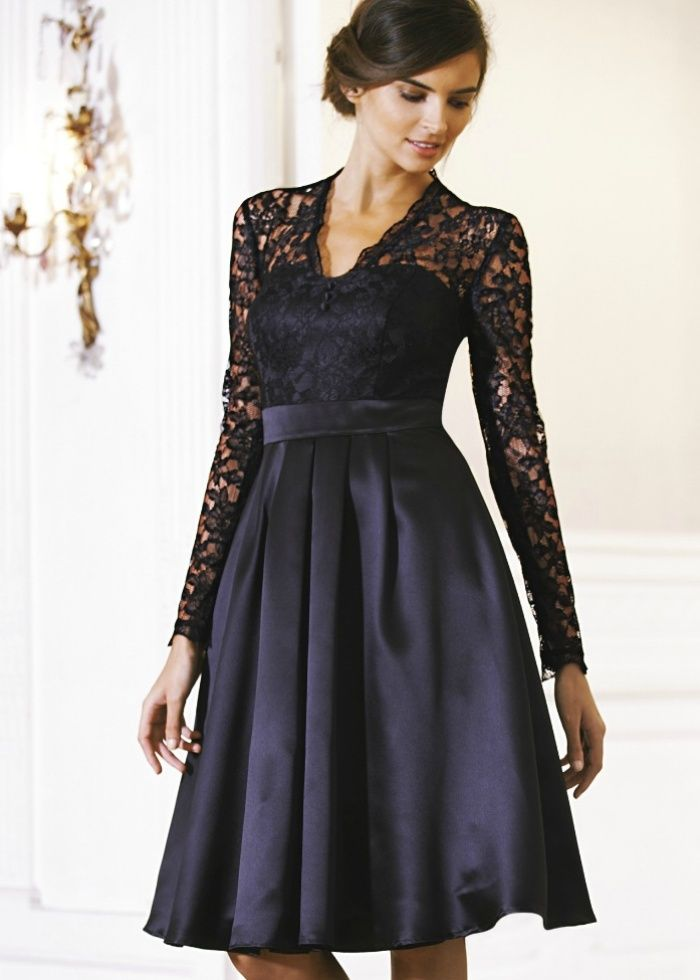 long lace black bridesmaid dresses | Teatro Lace Long Sleeve Prom ...