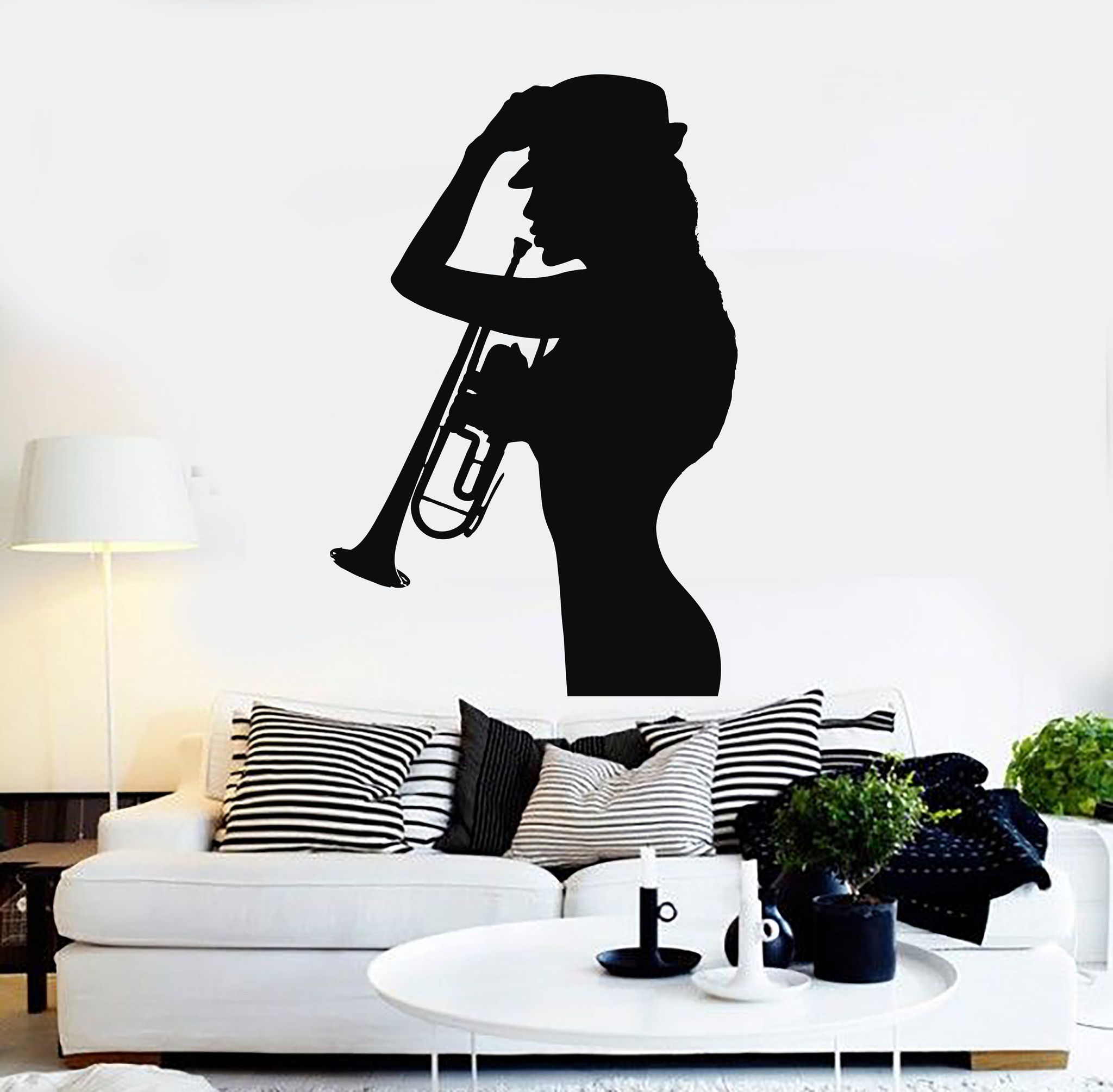Vinyl Wall Decal Woman Silhouette Saxophone Music Jazz Stickers - How to make vinyl wall decals with silhouette