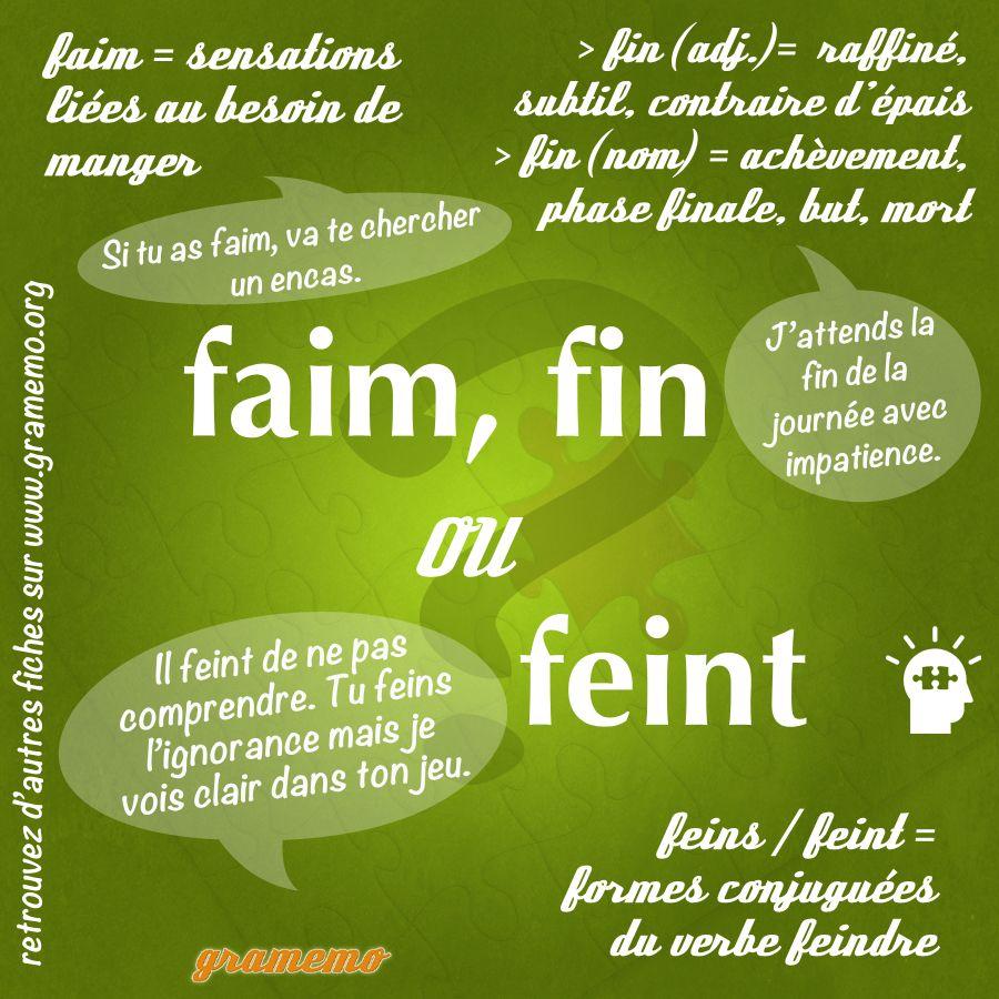 Faim Fin Ou Feint Gramemo Apprendre L Anglais Parler Francais Grammaire