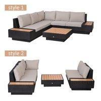 4 Pcs Rattan Sofa Furniture Set W/Cushions-Black/Beige/Orange