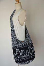 Frauen Eule Gesicht Messenger Bag Boho Hobo Bag schicke Umhängetasche Überschlag Umhängetasche Hippie Handtasche Taschen und Geldbörsen mit verstellba...