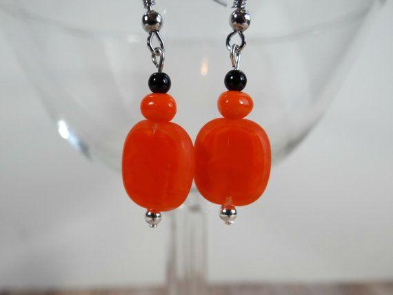 Handmade Orange Swirl Czech Bead Earrings with Black Jasper Beads, Halloween Earrings by TimelessTreasuresbyM on Etsy