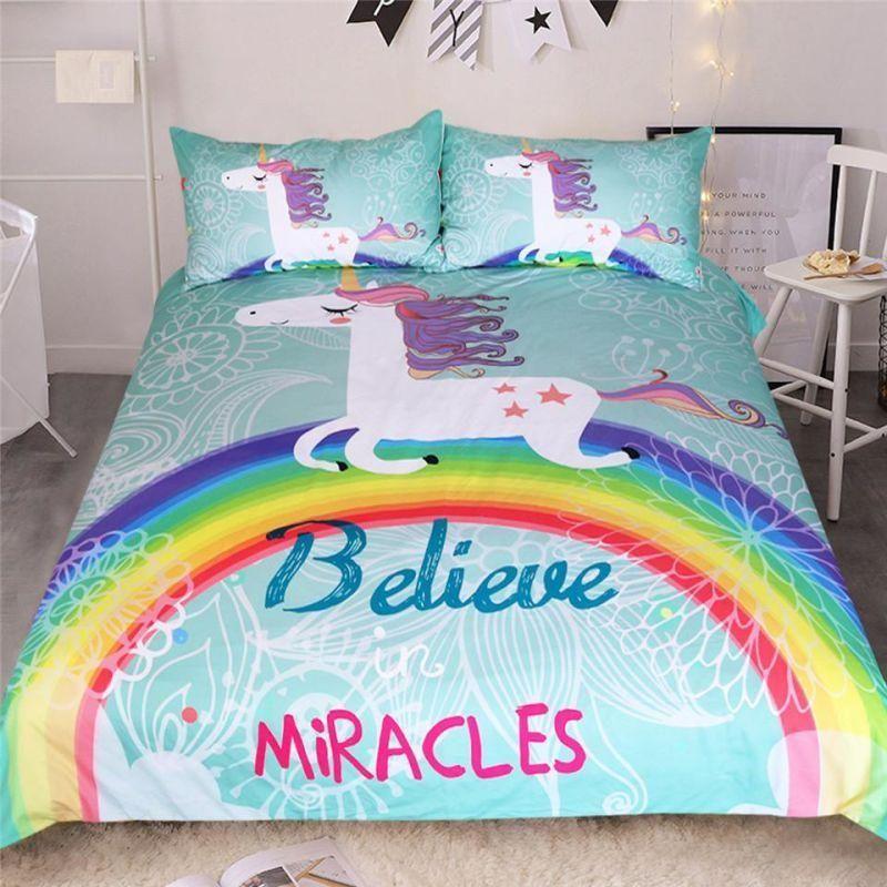 3 Pc Unicorn Believe In Miracles Cartoon Duvet Cover Animal
