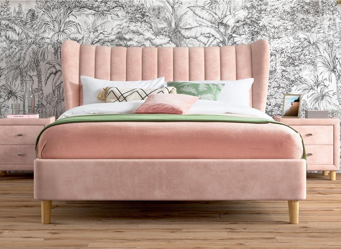 Knox Velvet Finish Upholstered Bed Frame Dormitorios Camas
