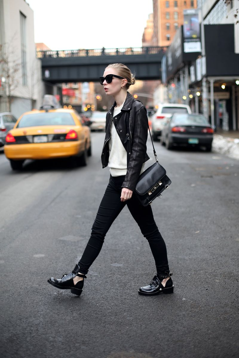 Balenciaga The Ceinture cut-out ankle boots and Proenza Schouler PS11 bag · Black  Leather ...