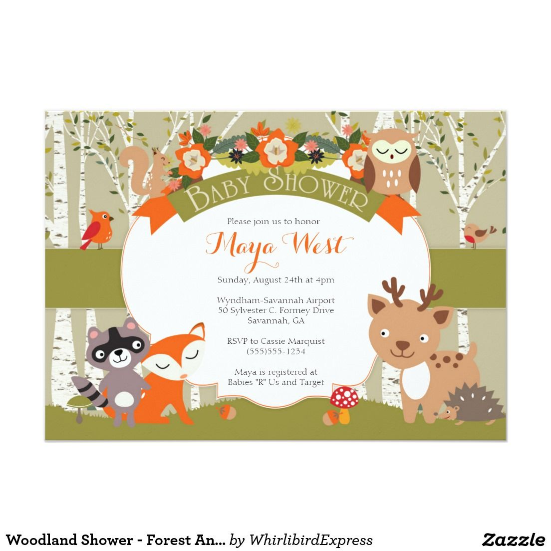 Woodland Shower Forest Animals Themed Baby Showe Card Baby