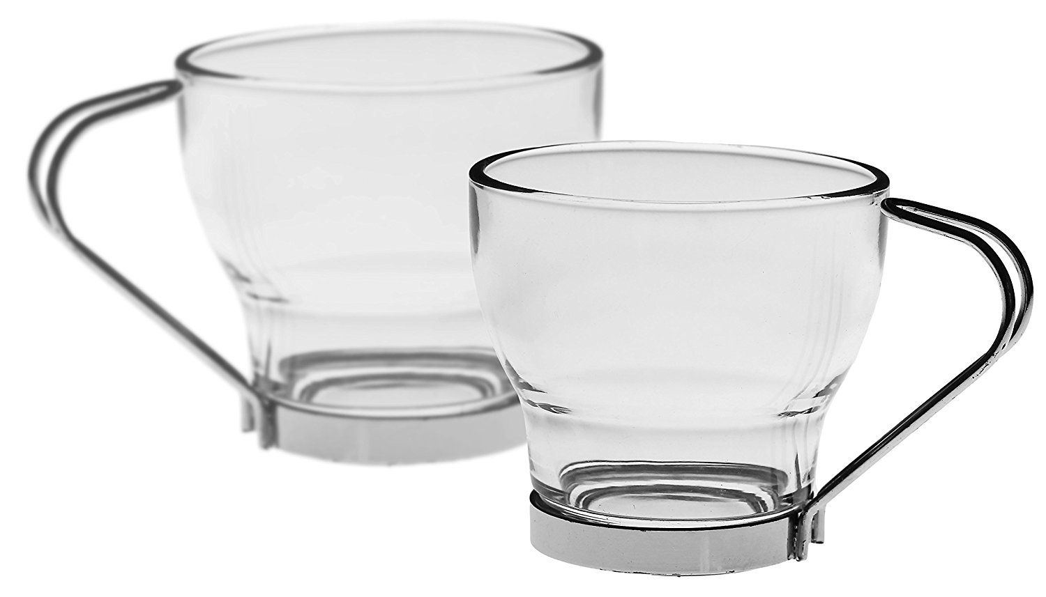 Bezrat Luxury Espresso Glass Coffee Cups With Handle [Set Of 6] Tempered Glass  Espresso Cups   Removable Stainless Steel Latte Mugs | 4 Ounces Tea Espresso  ...