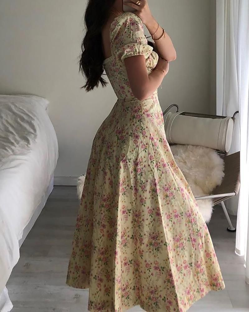 Photo of Floral Print Ruched Puff Sleeve High Slit Maxi Dress