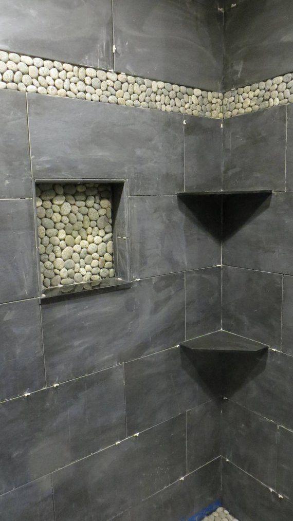 "Bathroom Corner Shelf Unit: Absolute Black Granite Shower Corner Shelf 3/8"" Diamond"