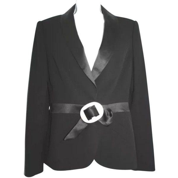 3ec7222fa26 Pre-owned Escada Mother Of Pearl Inlay Buckle Wool Tuxedo Jacket 38 ...