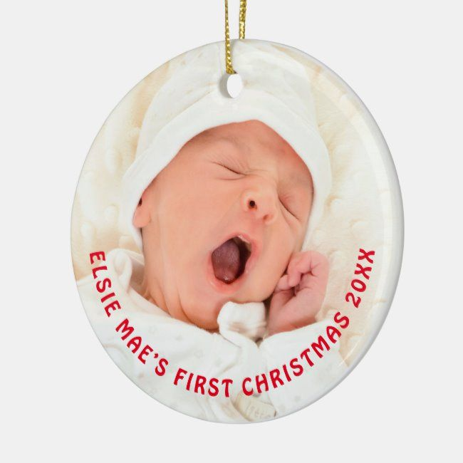 Baby Name Photo First Christmas Year Typography Ceramic Ornament