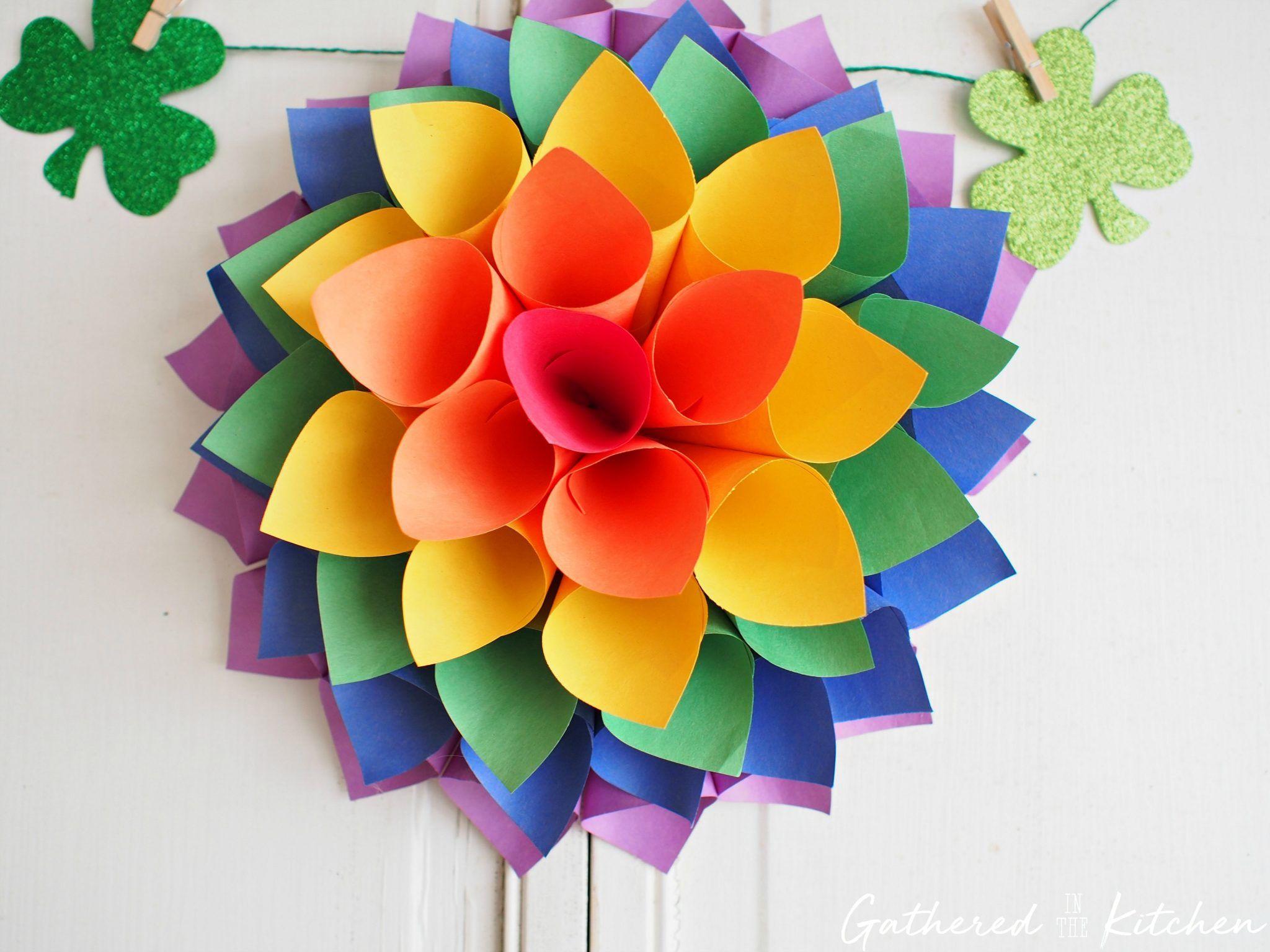DIY Rainbow Paper Flower Wreath