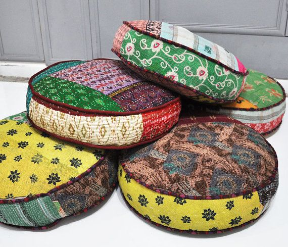 Patchwork floor cushion covers  Indian Kanta by namedesignstudio, $89.00
