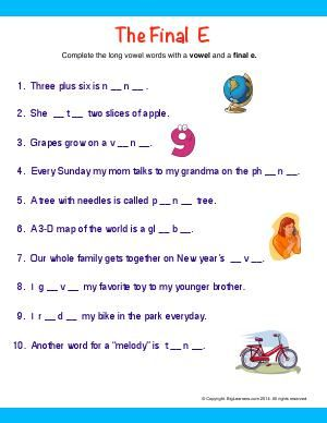 Worksheet | The Final E | Complete the long vowel words by ...