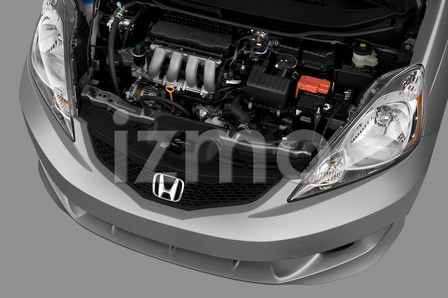 Engine View of Silver 2009 Honda Fit Sport Hatchback (With