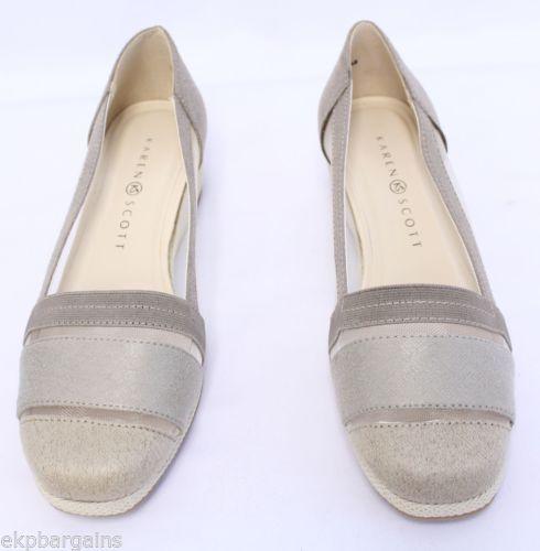 New-W-Flaws-Karen-Scott-Womens-Caroline-Loafer-Wedge-Flats-Gray-Beige-7-5M-W475