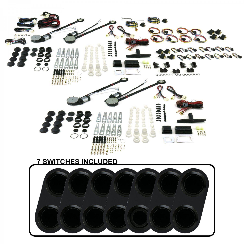 4-Door Universal Power Window Kit w 7 ABA20-Daytona Black Switches No  Illumination