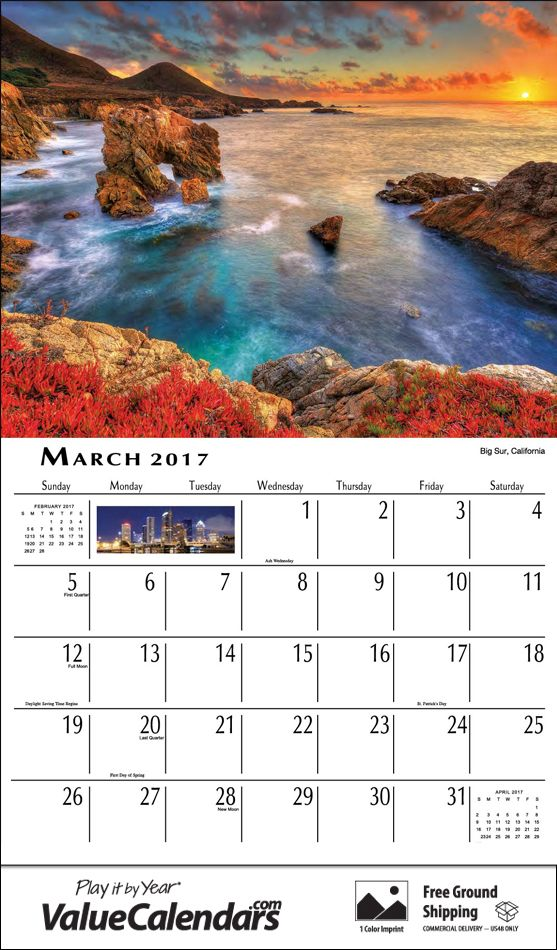 2017 scenes of america calendar low cost staple bound drop ad
