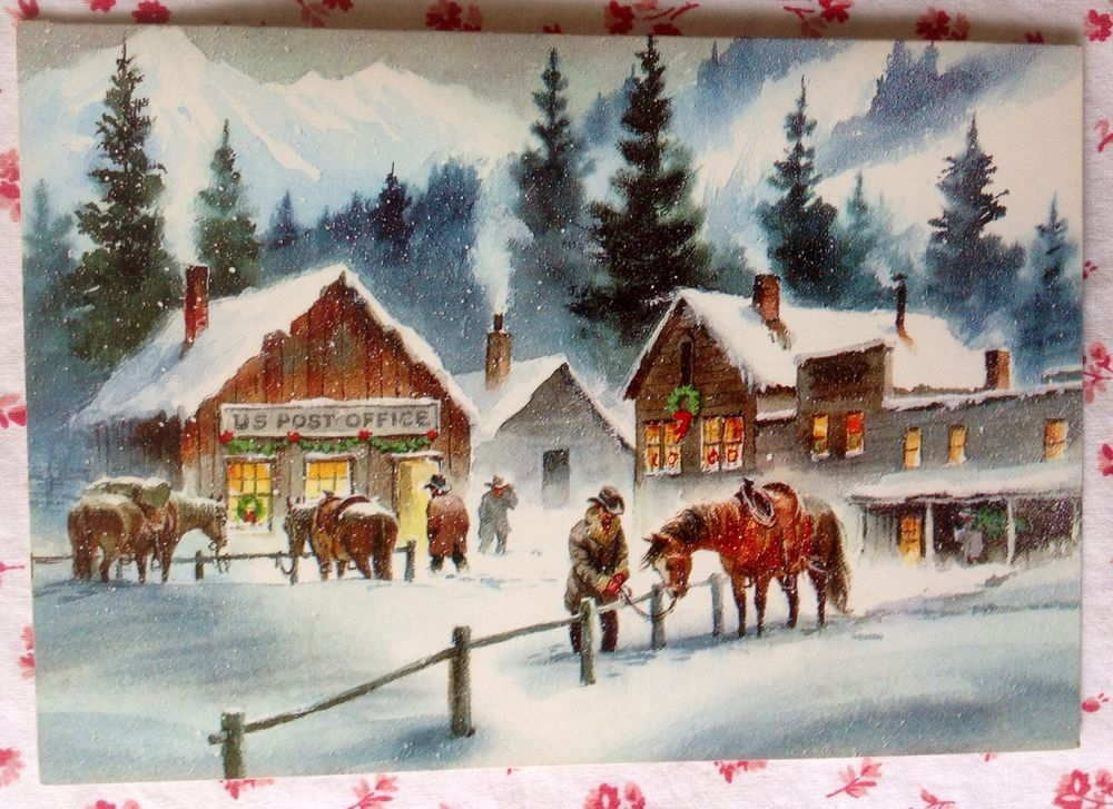 Vintage UNUSED Christmas Greeting Card Western Town Snow Scene ...