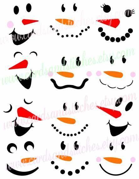 Snowmen SVG-Snowman Faces SVG-Silhouette Cut-Digital Cut File-Cricut SVG-Vector File-Instant Download-Svg, Dxf, Jpg, Eps, Png