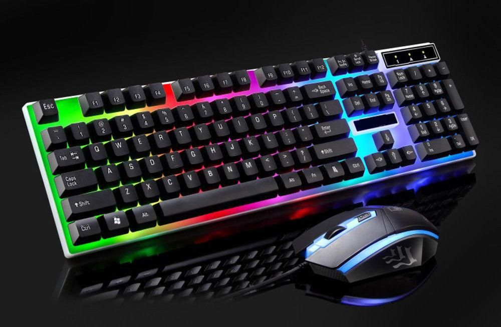 Backlit Gaming Keyboard Adjustable 3 Colors LED Light Gamer USB Wired Keyboard
