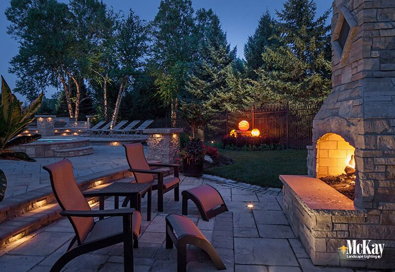 Outdoor Living Fireplace Fire Pit Landscape Lighting Patio