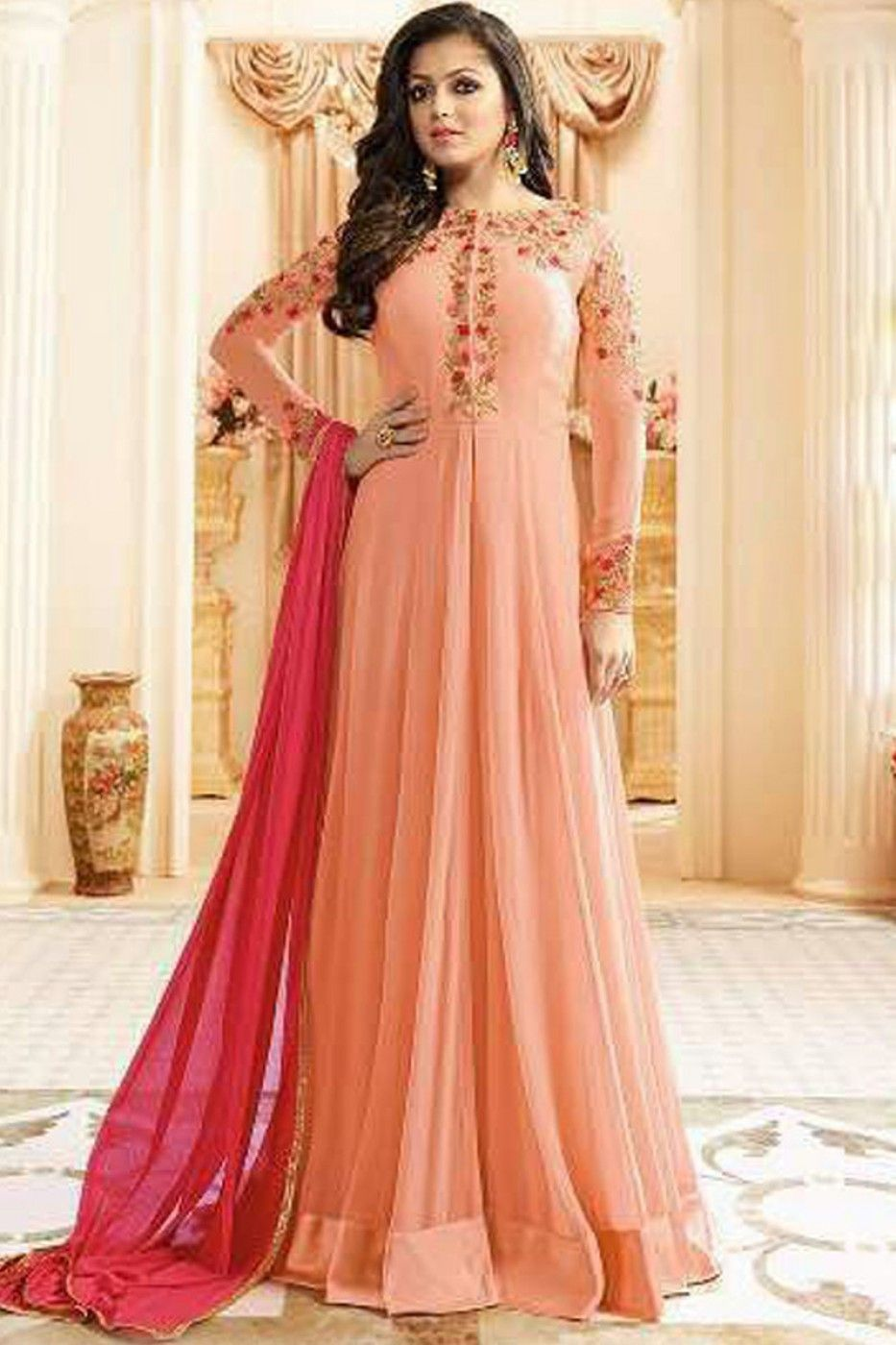 75d78eef2c Peach Color Georgette Fabric Bollywood Designer Occasionally Indian Women  Fashion Party Wear Drashti Dhami Floor Length Anarkali