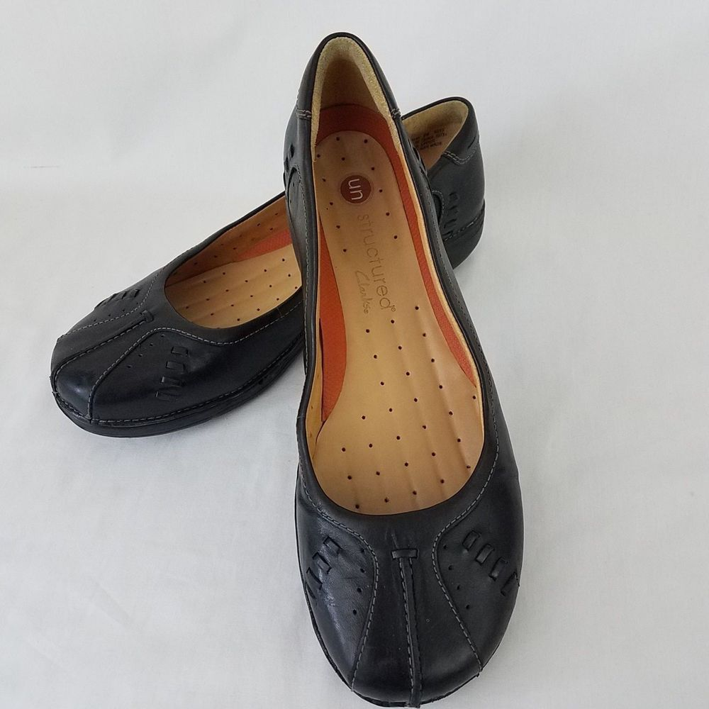 Clarks Unstructured Flats 9W Black