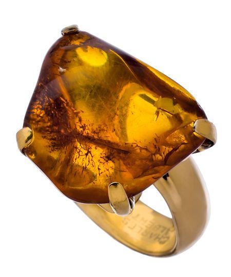 Charles Albert Gold and Amber Prong Set Ring