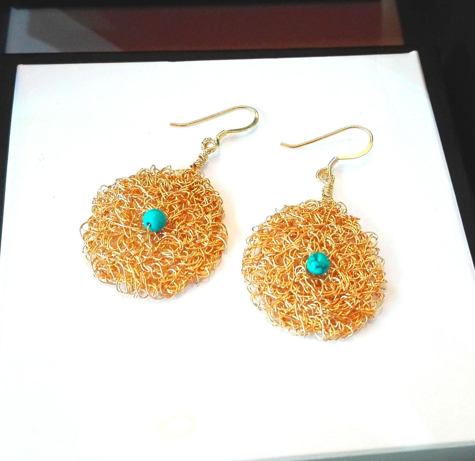HANDMADE EARRINGS TURQUOISE Byzantine Knitted Goldplated bf192e786d9