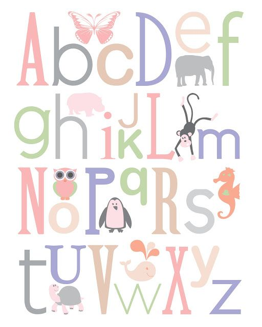 Baby Nursery Art Print Dog Abc Nursery Decor Alphabet Print: Nursery Letters, Lettering, Nursery