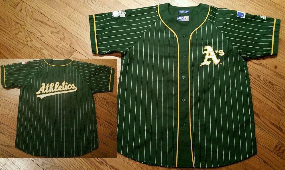 20eca351a Oakland Athletics A's green pinstripe Starter Baseball Jersey Men's XL 90's  sewn #Athletics #Starter #OaklandAthletics