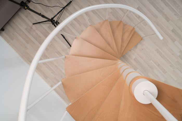 Best Dolle Calgary White Spiral Stair Kit 1200Mm With Images 640 x 480
