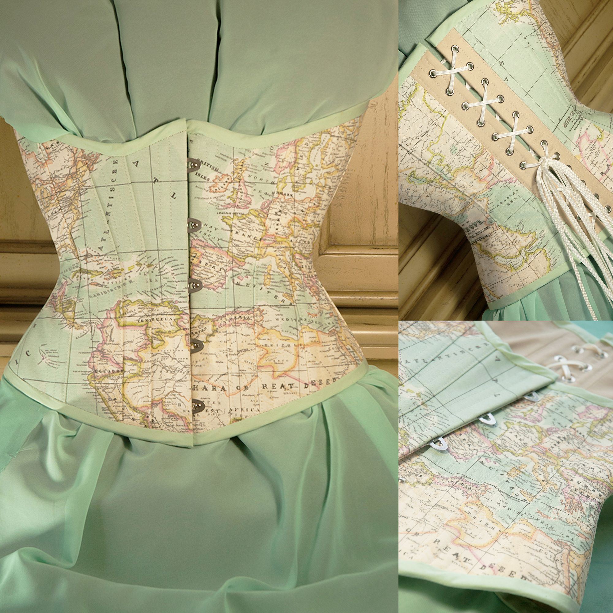 The map corset pastel mint map fabric available here http pastel mint map fabric available here gumiabroncs Choice Image
