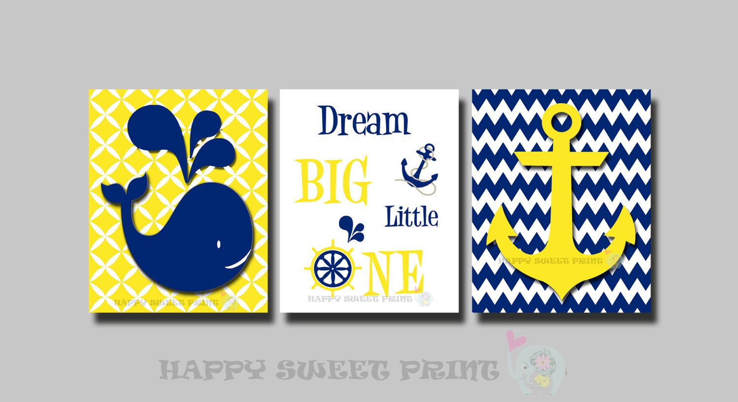Nautical nursery wall prints,whale crib bedding,yellow-navy chevron ...