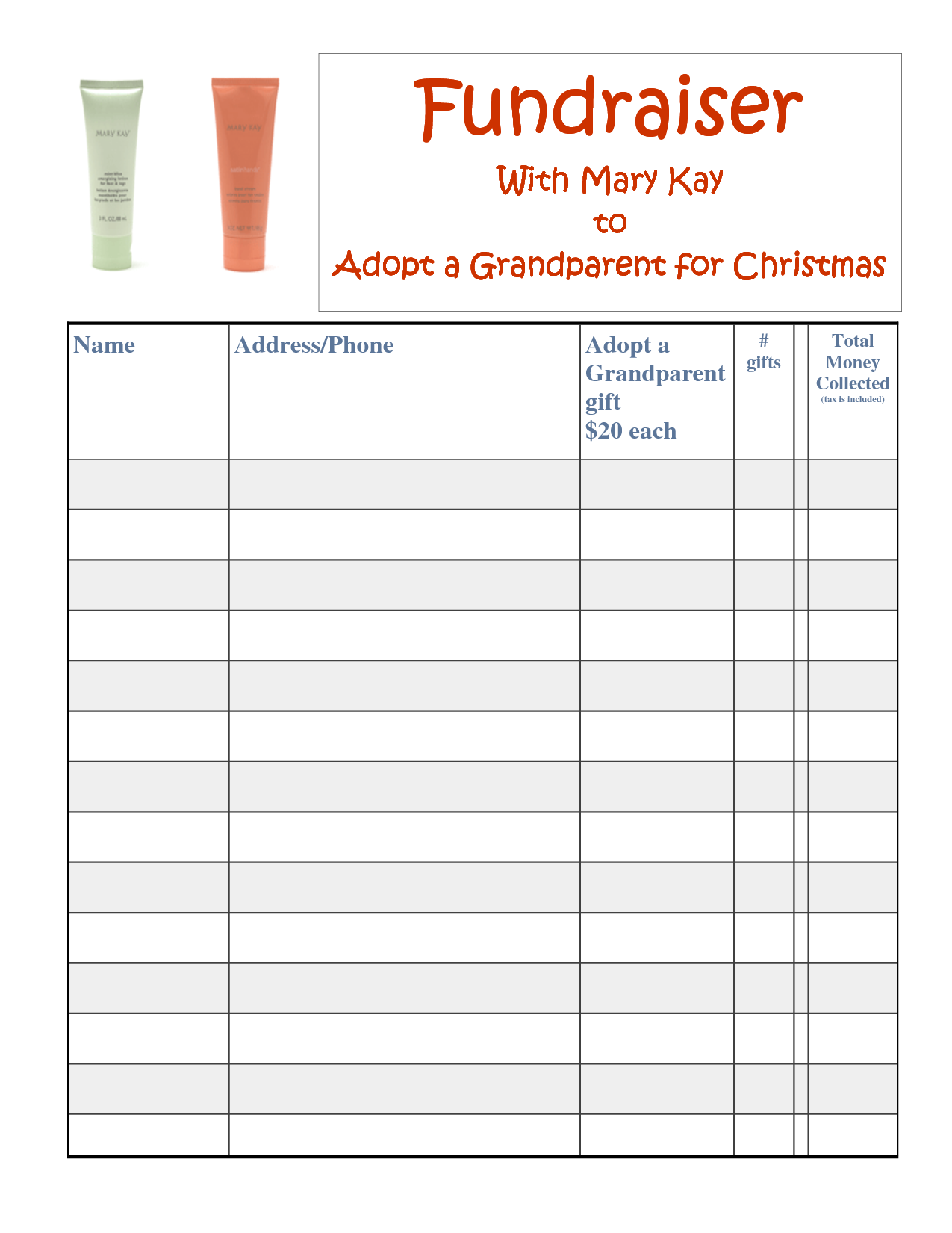 Fundraiser sheets templates asafonec sciox Choice Image